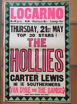 """Vintage  ORIGINAL 1960s """"THE HOLLIES"""" LACARNO gig MUSIC CONCERT POSTER"""