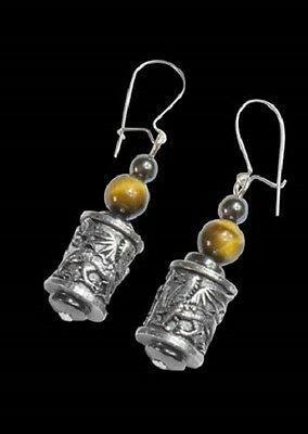 Welsh Pewter  dragon and tiger eye beads  and Sterling Silver Ear wires