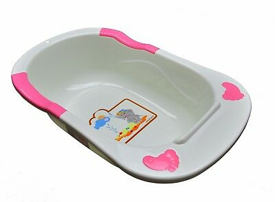 New Baby Infant Newborn Bath Tub with Armrest Support From Birth, Pink Sides