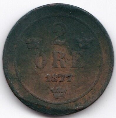 1877 Sweden  2 Ore***Collectors***Bronze***