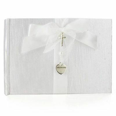 White Christening Guest Book - Silver Cross and Heart Charm Gift