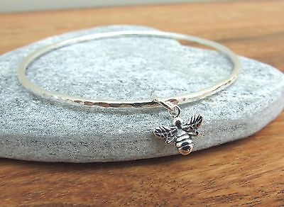 Handmade Hammered Sterling Silver Bangle With Bumble Bee Charm 7cm