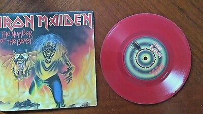 """Iron Maiden The Number of The Beast 7"""" Single EX RED Vinyl Record EMI 5287A 1982"""