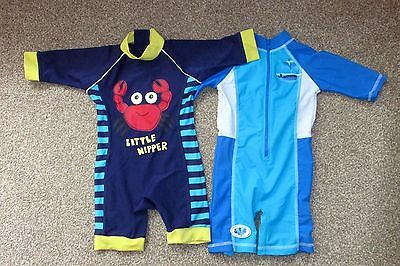 2 Boys Blue Uv Swim Suits. Mothercare & Adams. 12-18 Months. All In One Swimming