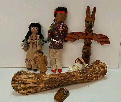 Native American Indian Dolls, Canoe, Totem Pole