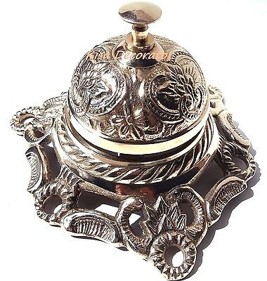 Solid Brass Hotel Counter Desk Bell Antique Style Ring For Service Call Bell