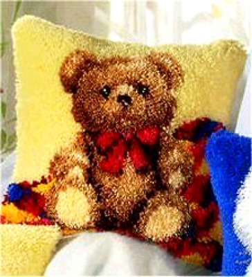 Vervaco Teddy Latch Hook Cushion Multi-Colour NEW