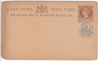 India: Jhind State QV Quarter Anna Postcard, with Jeend State cachet