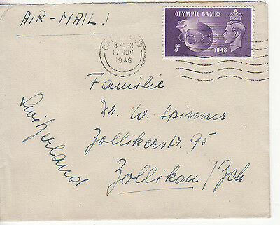 GB: GVI Airmail Cover, Olympic Games 3d stamp; Cambridge-Zollikou, 17 Nov 1948