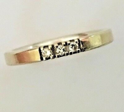 White Gold 14ct Ring with Three Diamonds - Size N1/2