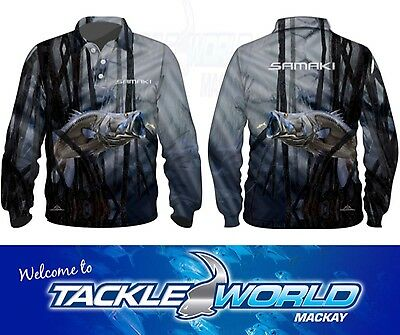 Samaki Chromed Barra Long Sleeve Fishing Shirts at Tackle World Mackay