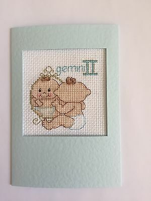 Handmade Completed Cross Stitch card ZODIAC GEMINI