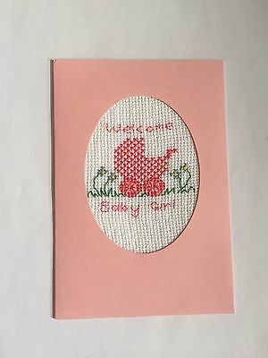 Handmade Completed Cross Stitch card Welcome Baby Girl