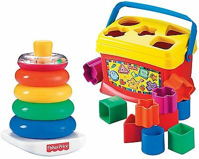 Fisher-Price Baby's Brilliant Building First Blocks and Rock Stack Bundle Toy