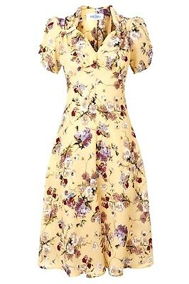Tara Starlet Vintage 1940'S 30's Style Yellow Floral Sweetheart Tea Dress