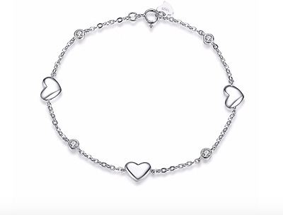 New! Solid 925 Sterling silver Rhodium plated Hearts Chain Bracelet + Gift bag!