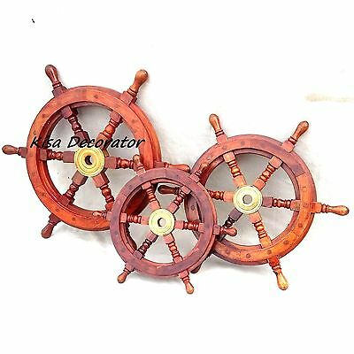 NEW 3 Captain Ship Wheel 18, 15 & 12 Inches Wooden Brass Steering Wheel Pirate