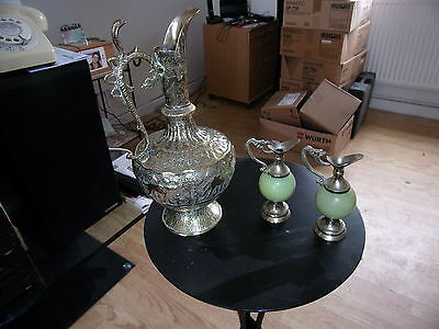 Large Indian Brass Jug & 2 Small Brass Jugs