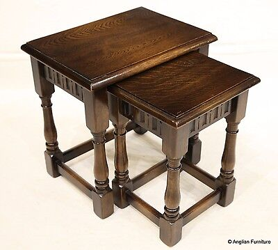 Old Charm Style Nest of 2 Oak Tables FREE Nationwide Delivery