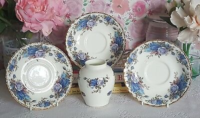 Royal Albert moonlight rose collection of x3 saucers &  vase