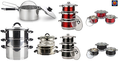 Large Kitchen Stainless Steel Stock Pot / Steamer / Chip Pan Set Royal Cuisine