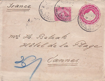 Egypt 1899 Uprated Stationery sent from Ghesierah Palace Hotel to France