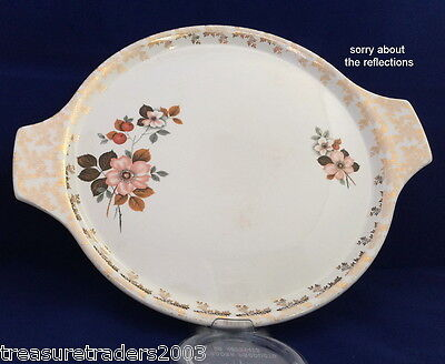 🌟 Lord Nelson Pottery 5-68 Handled Cake Plate Serving Platter Chintz Border