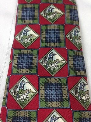 Mens Silk Tie Hunting Dog German Short Hair Plaid Made In USA Esquire Outdoors