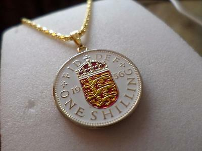 Vintage Hand Painted Shilling Coin 1956 Pendant & Necklace. Birthday Gift Ideas