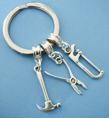 Tool Keyring Hammer Wrench Saw Silver Charm Keychain Key Ring