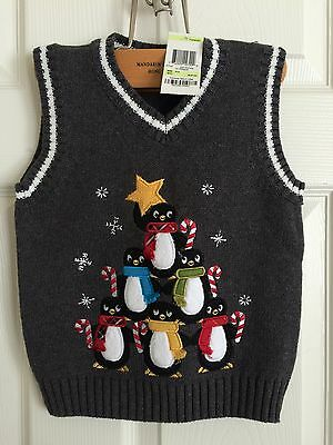 Boys Girls Penguin Sweater Vest Winter Christmas Greendog Kids Cotton Gray NWT 4