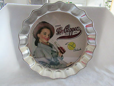 "Metal Tray Lady Advertising Soda Tray 12"" Dr Pepper"