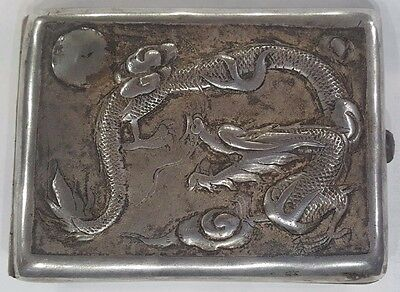 Rare Chinese Vintage Embossed Dragon Cigarette Case Sterling Silver
