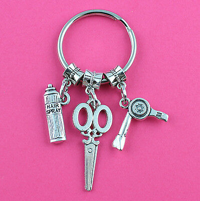 Hair Stylist Hair Dresser Beautician Key Ring Silver Charm Purse Bag Key Chain