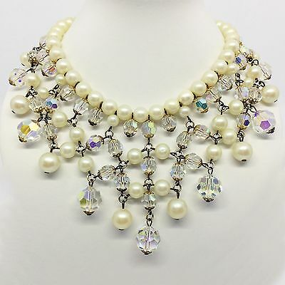 Vintage 1960's Juliana Statement Crystal and Pearl Beaded Collar Necklace