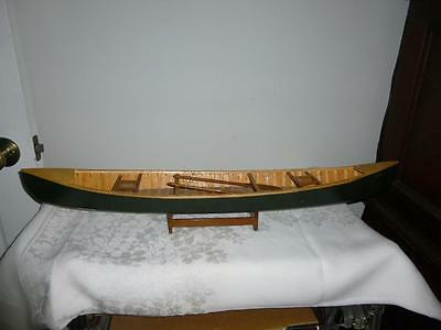 "Salesmans Sample Canoe with Paddles - 27"" Long - Green - Unmarked - Hand Made"
