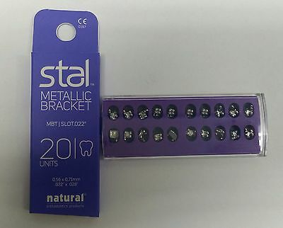 NATURAL ORTHODONTIC BRACKET Stal MBT 0.022 Hook 3/4/5. Mesh Base 20 pcs 1018-22