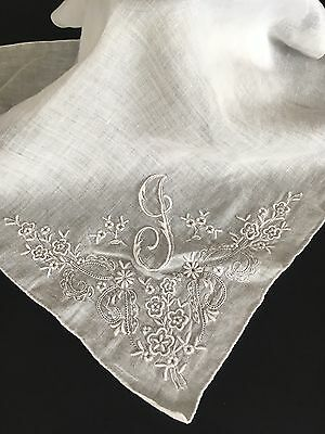 Antique Guys Linen Appenzell Lace Wedding Handkerchief