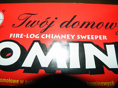 CHIMNEY CLEANING LOG SWEEPER FLUE SOOT and FIREPLACE CLEANER - red box