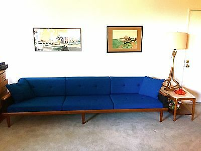 No Reserve Extra large Mid Century Modern Sofa,Couch. Walnut recent upholstery!