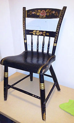 Antique 19th Century Folk Floral Painted Shabby Chair