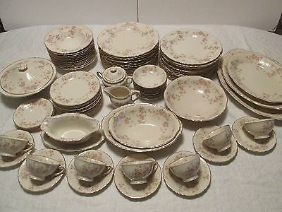 87pc Syracuse STANSBURY DINNER Service 12 Pink Floral Ivory China 10 Serving Pcs