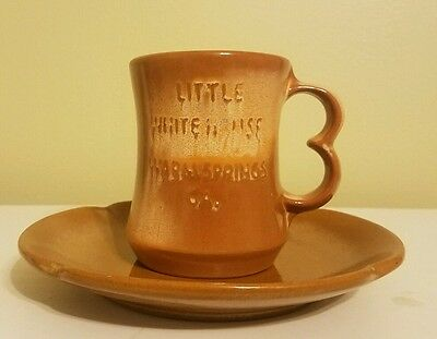 Vintage LITTLE WHITE HOUSE MUG and Plate Warm Springs Georgia Frankoma Stoneware