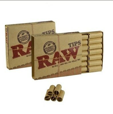 (2 Packs) RAW Natural Unrefined PRE-ROLLED Cigarette Filter Rolling Paper Tips