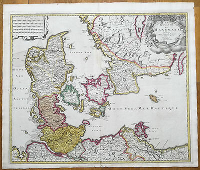 Valck Large Colored Map Denmark Royaume de Danemark  - 1740