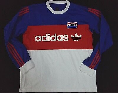 VINTAGE 90s ADIDAS TEAM TRIFOIL JERSEY SWEATSHIRT T SHIRT POLY COTTON RUGBY