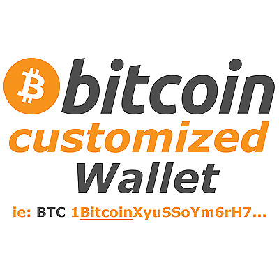 HOT!!!! Personalized -up to 8 characters- Bitcoin Wallet ie: BTC: 1BitcoinXyu...