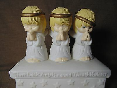 Hallmark Ceramic Trinket Box Three Little Angels Thoughtfulness Kindness Caring