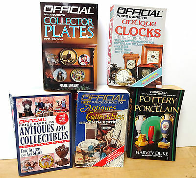Lot of 5 OFFICAL PRICE GUIDES TO COLLECTOR PLATES, ANTIQUE CLOCKS, POTTERY +