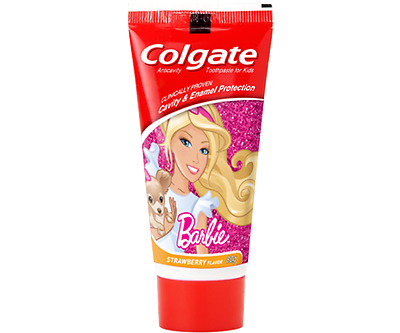 2 x 80gm Colgate Kids Barbie Red ToothPaste With Strawberry Flavor